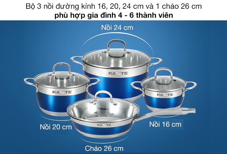 Bộ nồi chảo - Bộ nồi chảo inox 5 đáy Kalite KL-336