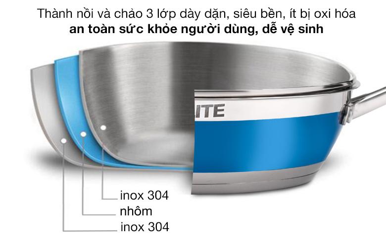 Thành nồi - Bộ nồi chảo inox 5 đáy Kalite KL-336
