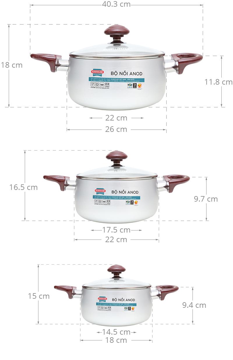 3 kích cỡ tiện dụng phục vụ cho nhiều dạng nhu cầu nấu ăn của gia đình
