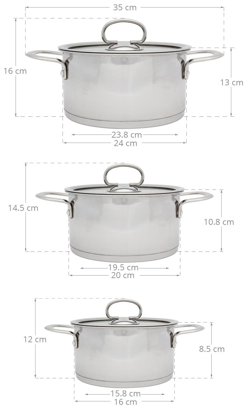 Bộ 3 nồi kích thước tiện dụng cho nhiều dạng nhu cầu nấu nướng