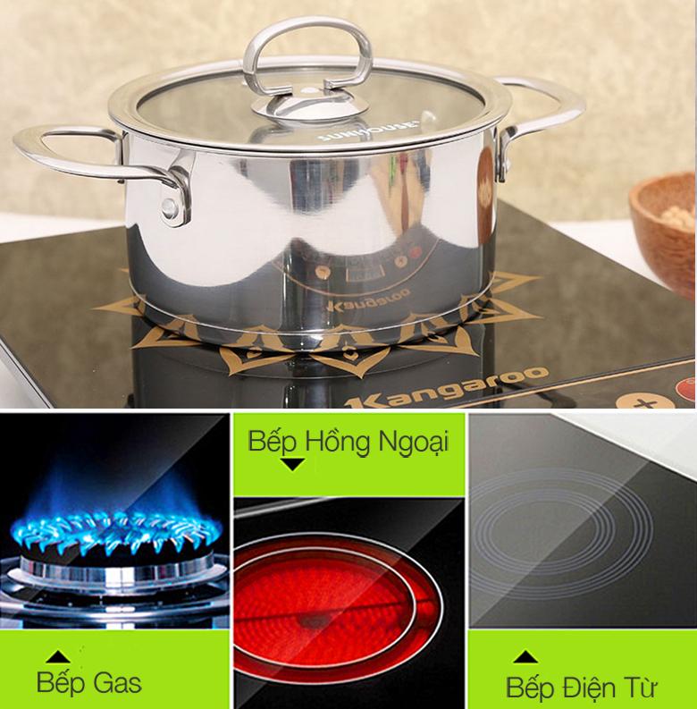Bộ nồi inox 3 đáy Sunhouse SH890 sử dụng tốt cho bếp gas, bếp hồng ngoại và bếp từ