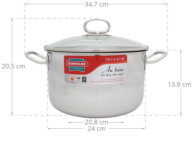 Đường kính 24 cm cùng thành cao cho nấu ăn tiện dụng