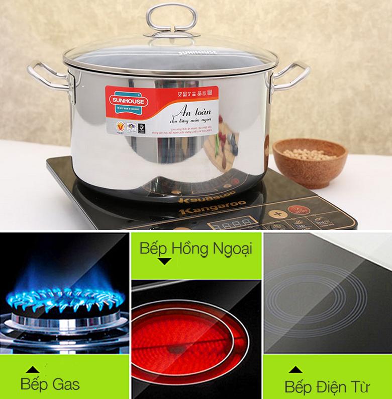 Nồi inox Sunhouse SHG24S với inox 430 sử dụng được trên bếp từ, bếp gas và bếp hồng ngoại