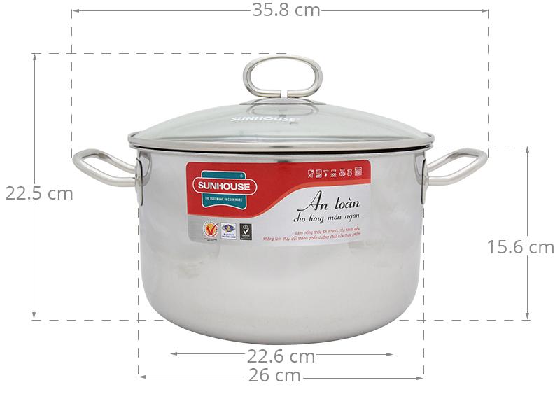 Đường kính 26 cm cùng thành cao cho nấu ăn tiện dụng