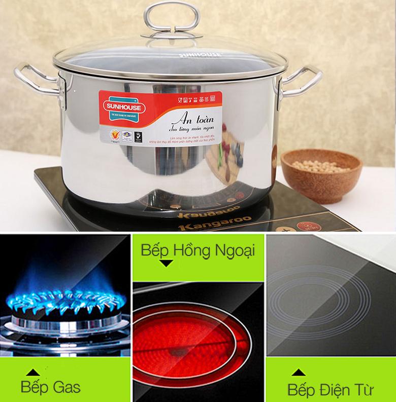 Nồi inox Sunhouse SHG26S sử dụng được trên bếp từ, bếp gas và bếp hồng ngoại