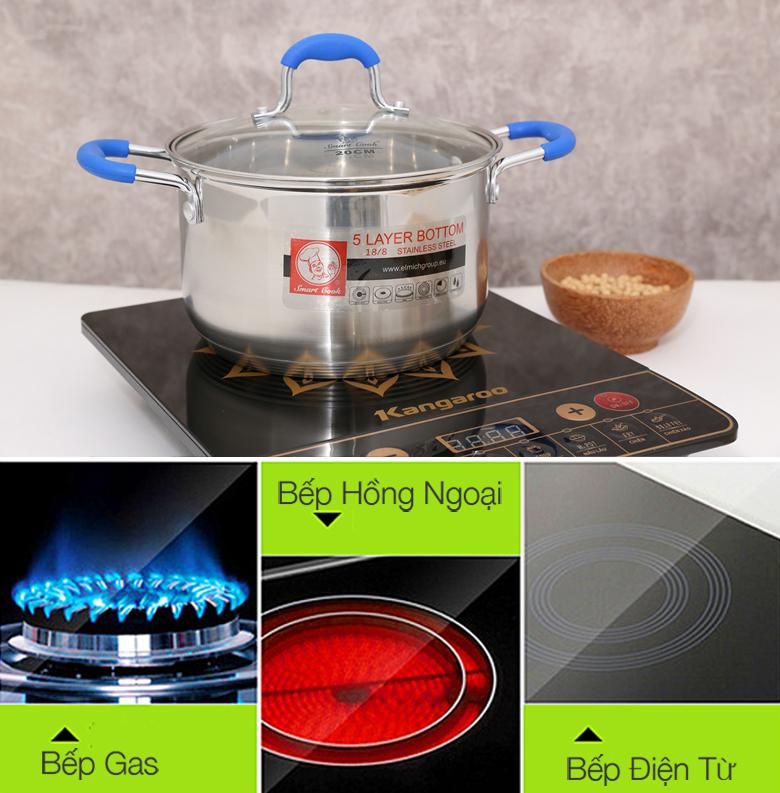 Bộ 3 nồi Inox Elmich Smartcook-SMR3-2355961 cấu tạo đáy 5 lớp với lớp ngoài cùng inox 430 sử dụng được trên bếp gas, bếp hồng ngoại và cả bếp từ.