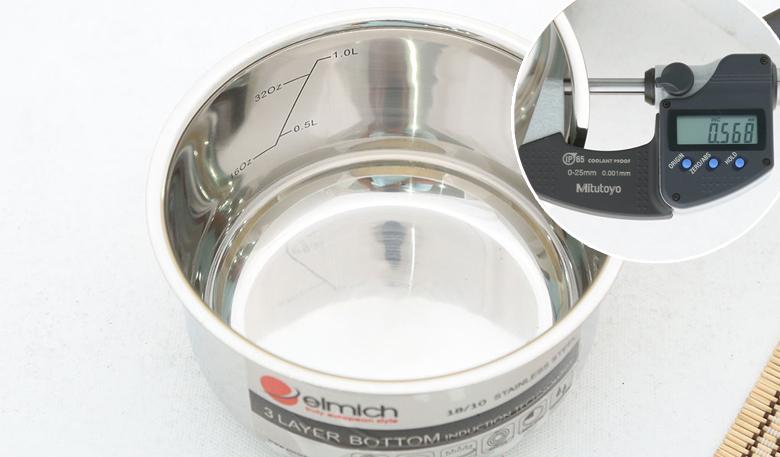 Quánh được làm từ inox 304 hay (inox còn gọi là 18/10) sáng bóng, bên trong có thang đo mực nước. Độ dày gần 0.6 mm, giúp làm nóng nhanh, thích hợp nấu cháo, nấu canh lượng ít.