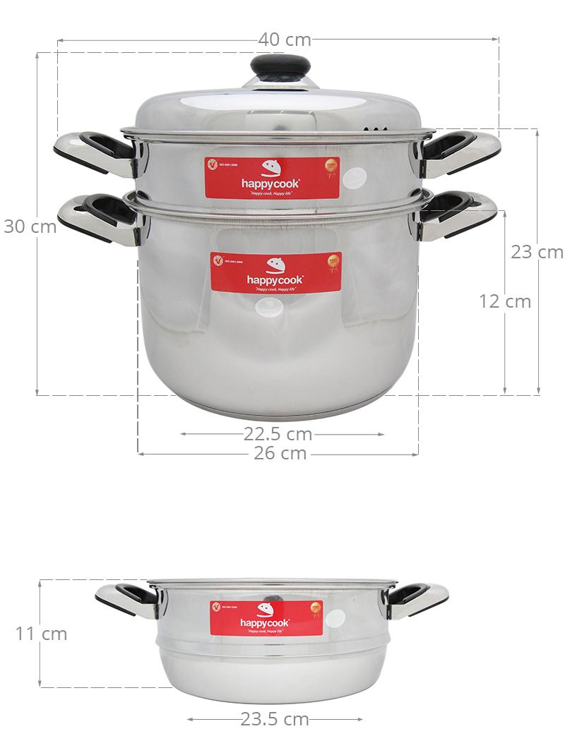 Thông số kỹ thuật Bộ nồi xửng inox 3 đáy 26 cm Happycook ST26