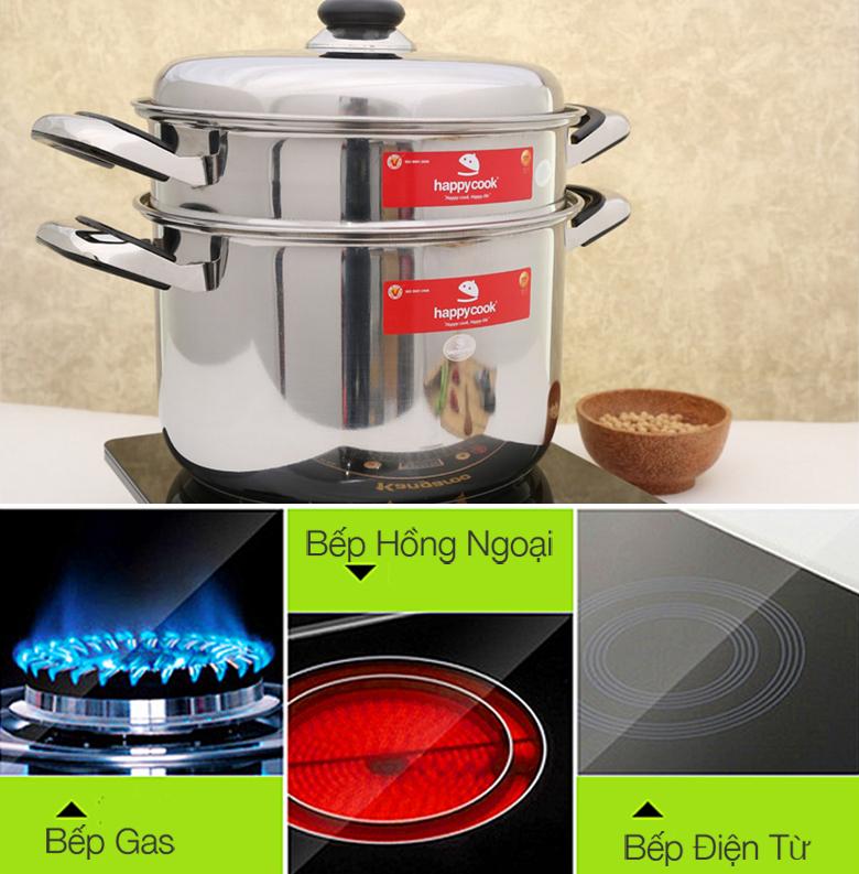Nồi hấp (xửng) Happycook ST26 sử dụng được trên bếp gas, bếp hồng ngoại và cả bếp từ