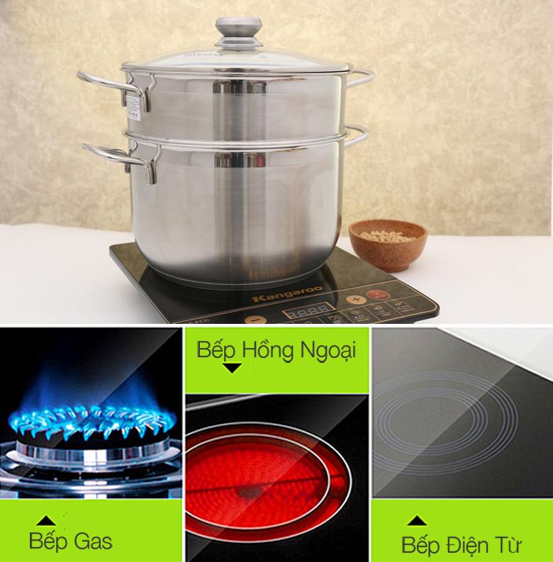 Bộ nồi xửng nắp kiếng Fivestar ST26-3DG dùng được trên cả bếp gas, bếp hồng ngoại và bếp từ.
