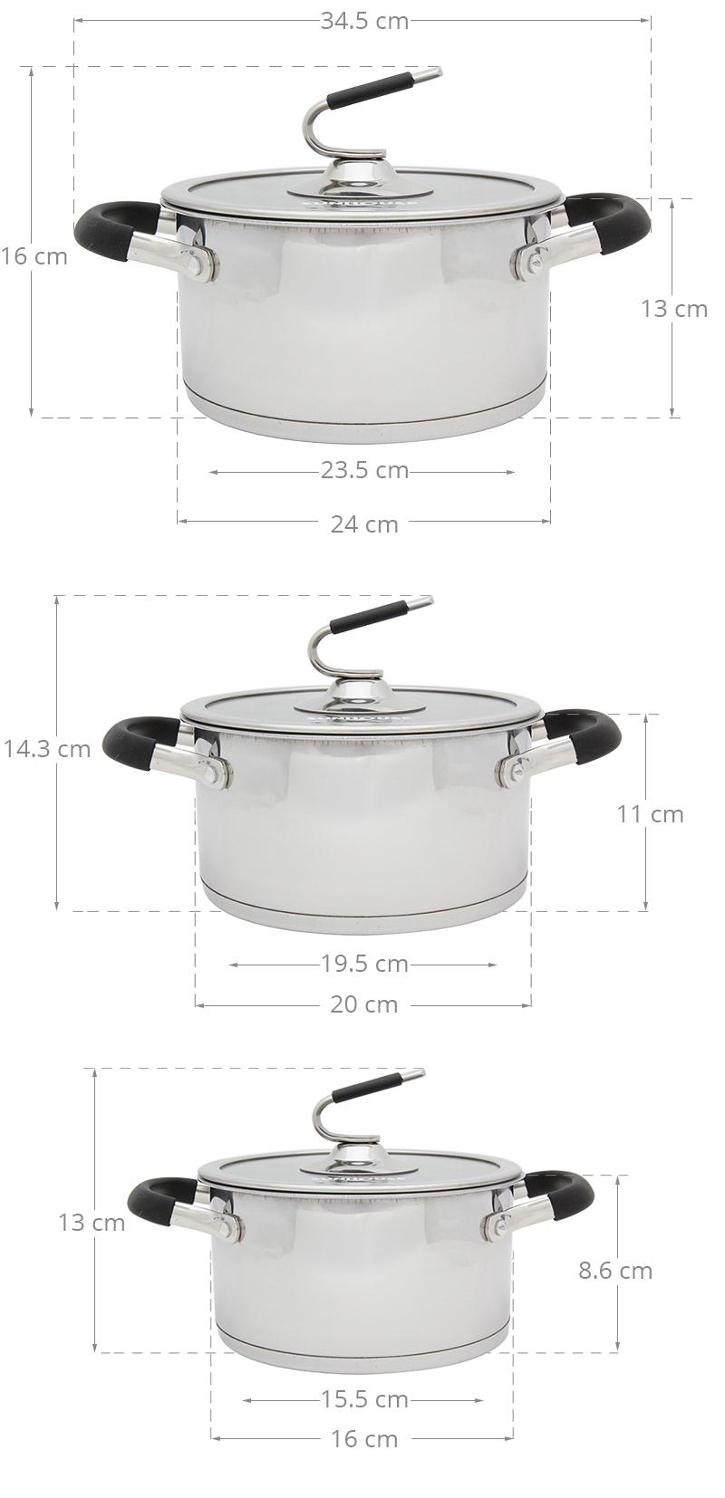 Bộ 3 nồi kích thước khác biệt phục vụ hoàn hảo nhu cầu nấu ăn gia đình
