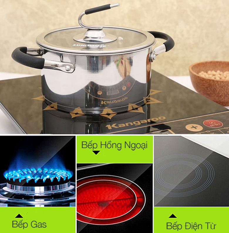 Bộ nồi 3 inox 3 đáy Sunhouse SH891 với đáy ngoài cùng bằng inox 430 sử dụng được trên bếp từ, bếp gas và bếp hồng ngoại