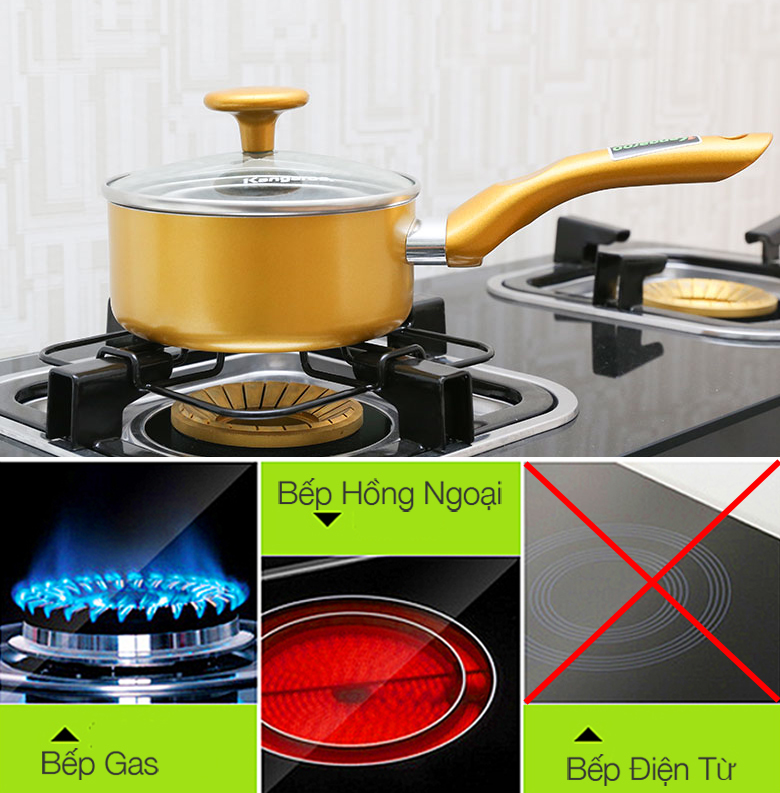 Nồi Kangaroo KG920 sử dụng được cho bếp gas, bếp hồng ngoại, không sử dụng được cho bếp từ.