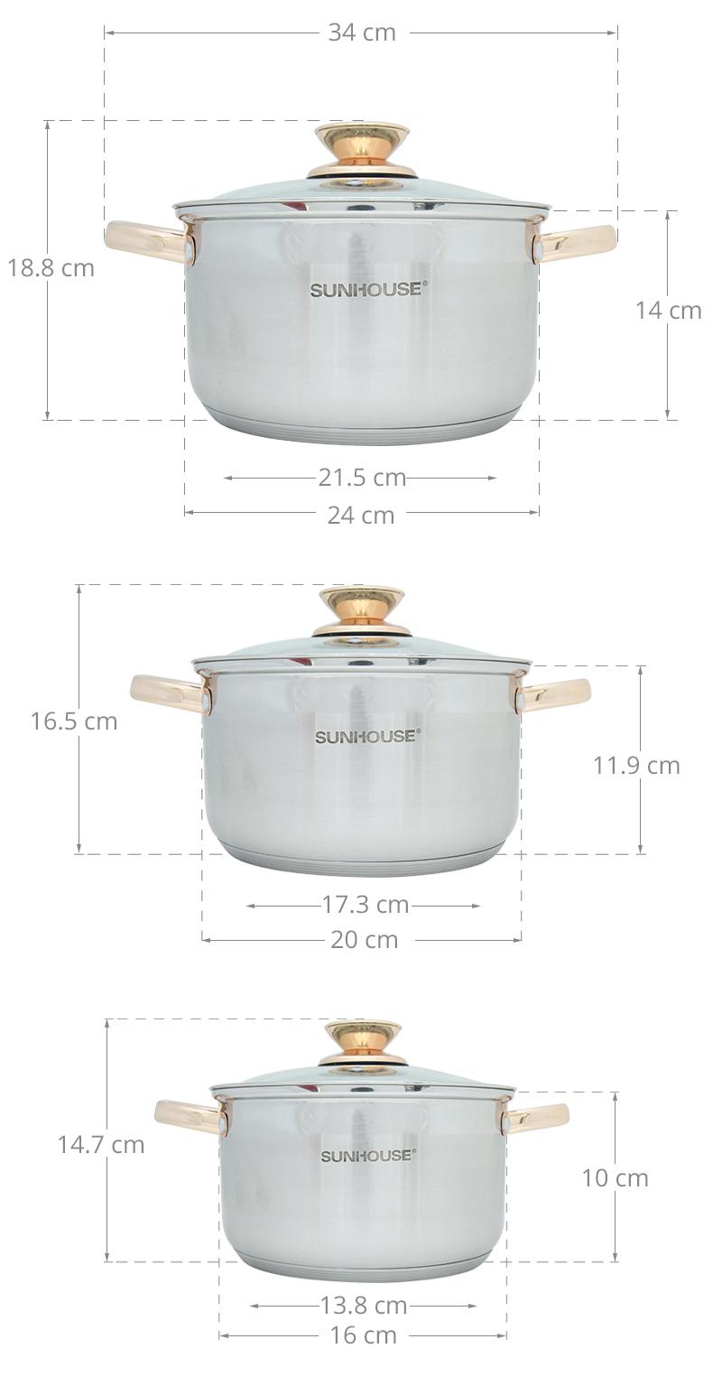 Bộ 3 nồi kích thước tiện dụng phục vụ tốt các nhu cầu nấu ăn của bà nội trợ