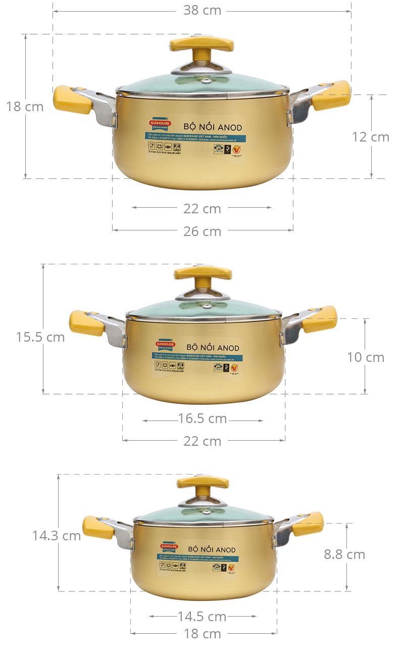 Bộ 3 nồi đường kính là 18 cm, 22 cm, 28 cm, bạn tùy chọn cỡ nồi thích hợp với nhu cầu sử dụng