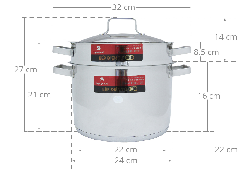 Thông số kỹ thuật Bộ nồi xửng inox 3 đáy 24 cm Happycook Milan ST24-ML