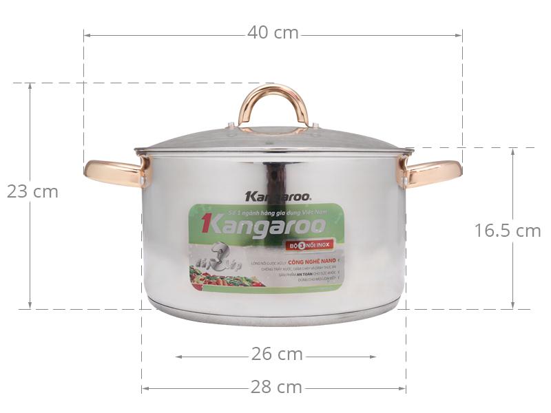 Thông số kỹ thuật Nồi inox 3 đáy 28 cm Kangaroo KG590