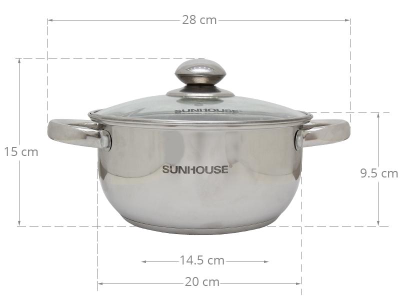 Thông số kỹ thuật Nồi Inox 3 đáy Sunhouse SH22120 20 cm