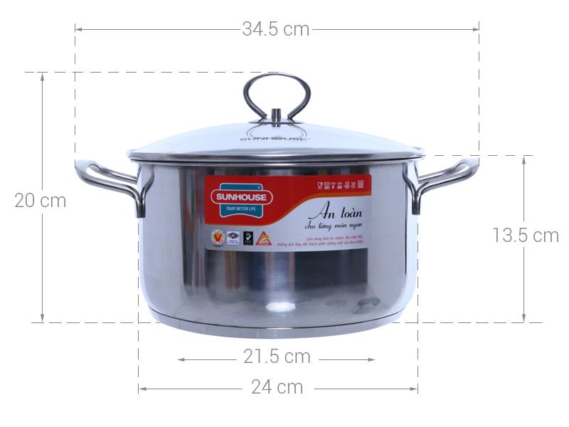 Thông số kỹ thuật Nồi inox 3 đáy 24 cm Sunhouse SHG24124