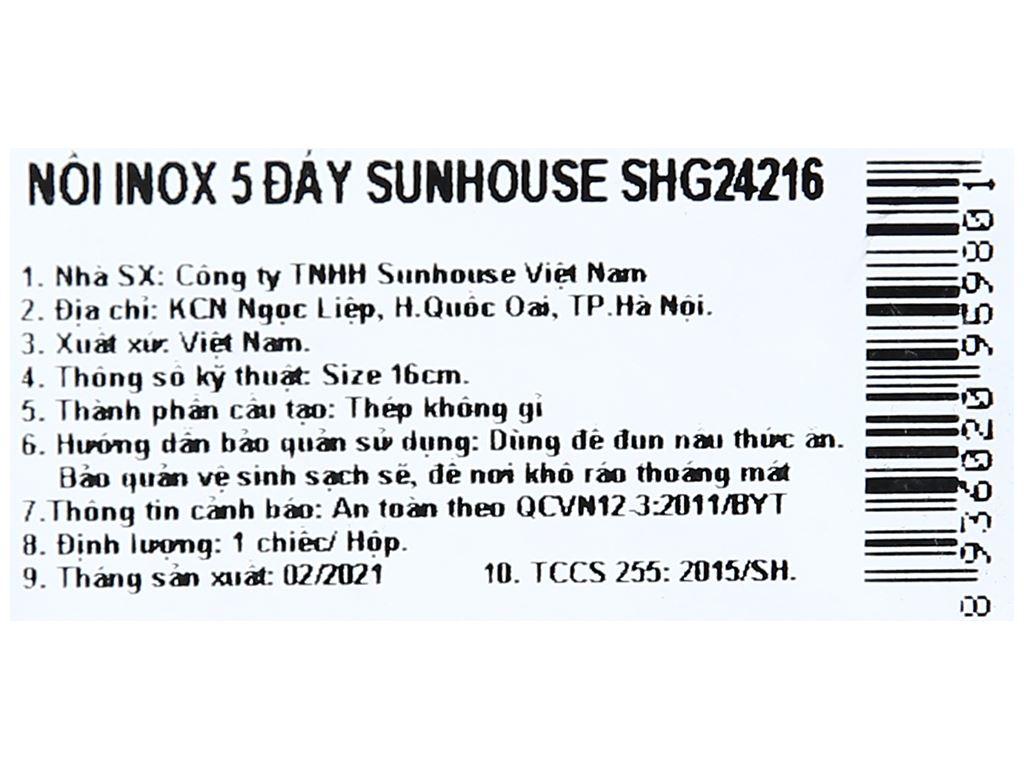 Nồi inox 201 5 đáy Sunhouse SHG24216 16cm 8