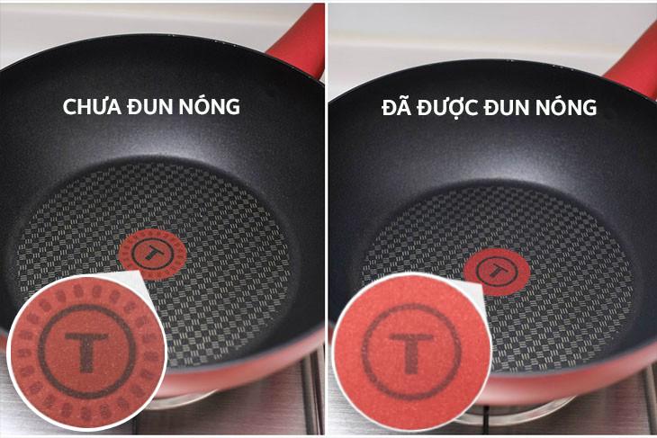 Cảnh báo nhiệt khi chảo nóng với công nghệ Thermor-spot tiện lợi - Chảo nhôm chống dính đáy từ 30 cm Tefal C6820772