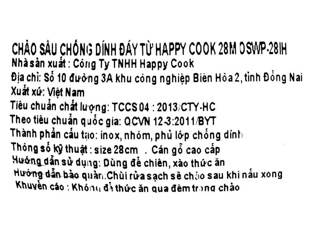 Chảo nhôm chống dính đáy từ HappyCook OSWP-28IH 28cm 8