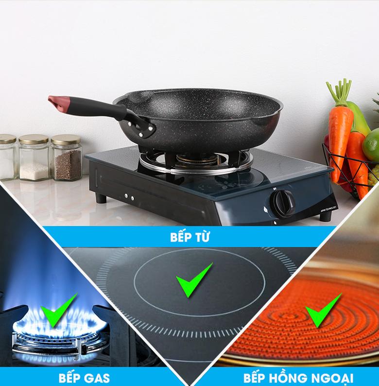 Chảo nhôm chống dính đáy từ 30cm Kangaroo KG661XL - Sử dụng tốt trên mọi loại bếp từ bếp gas, bếp hồng ngoại đến bếp từ