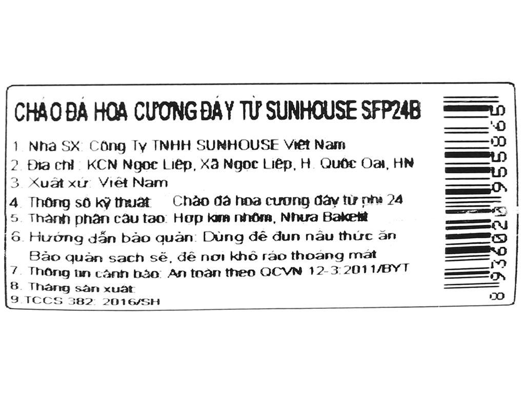 Chảo nhôm chống dính vân đá đáy từ Sunhouse SFP24B 24cm 8