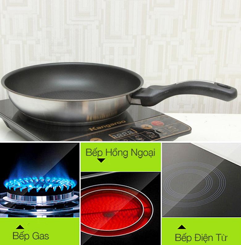Chảo 3 đáy Fivestar 28cm CKD28-3DI dùng được với cả, bếp gas, bếp điện từ và bếp hồng ngoại