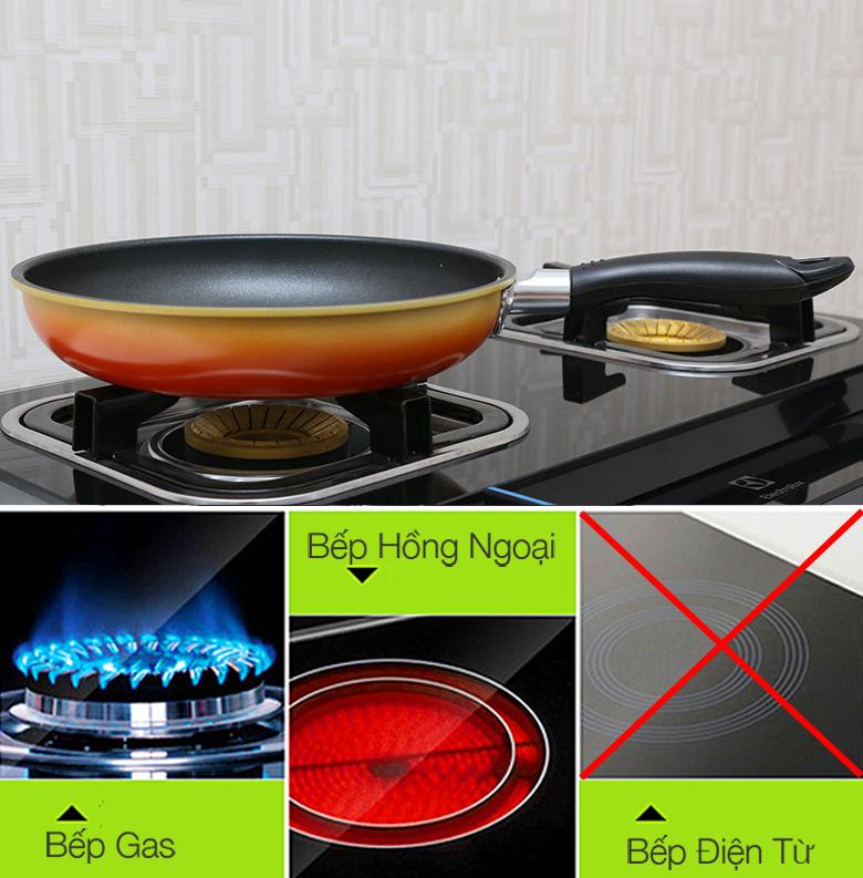 Chảo chống dính Goldsun FP-GC426 sử dụng tốt trên bếp gas, bếp hồng ngoại, không dùng cho bếp từ.