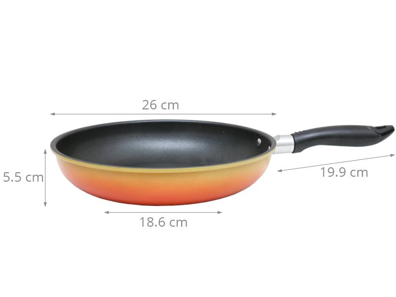 Đường kính chảo 26 cm thích hợp chiên xào