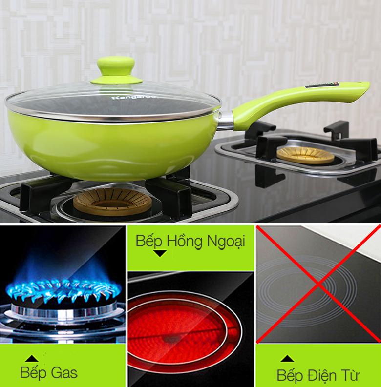 Chảo vung kính Kangaroo KG 919 sử dụng cho bếp gas, bếp hồng ngoại, không dùng cho bếp từ