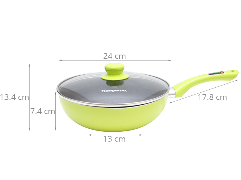 Đường kính 24cm cùng lòng chảo sâu, tiện dụng chiên xào, không lo dầu văng ra ngoài khi nấu
