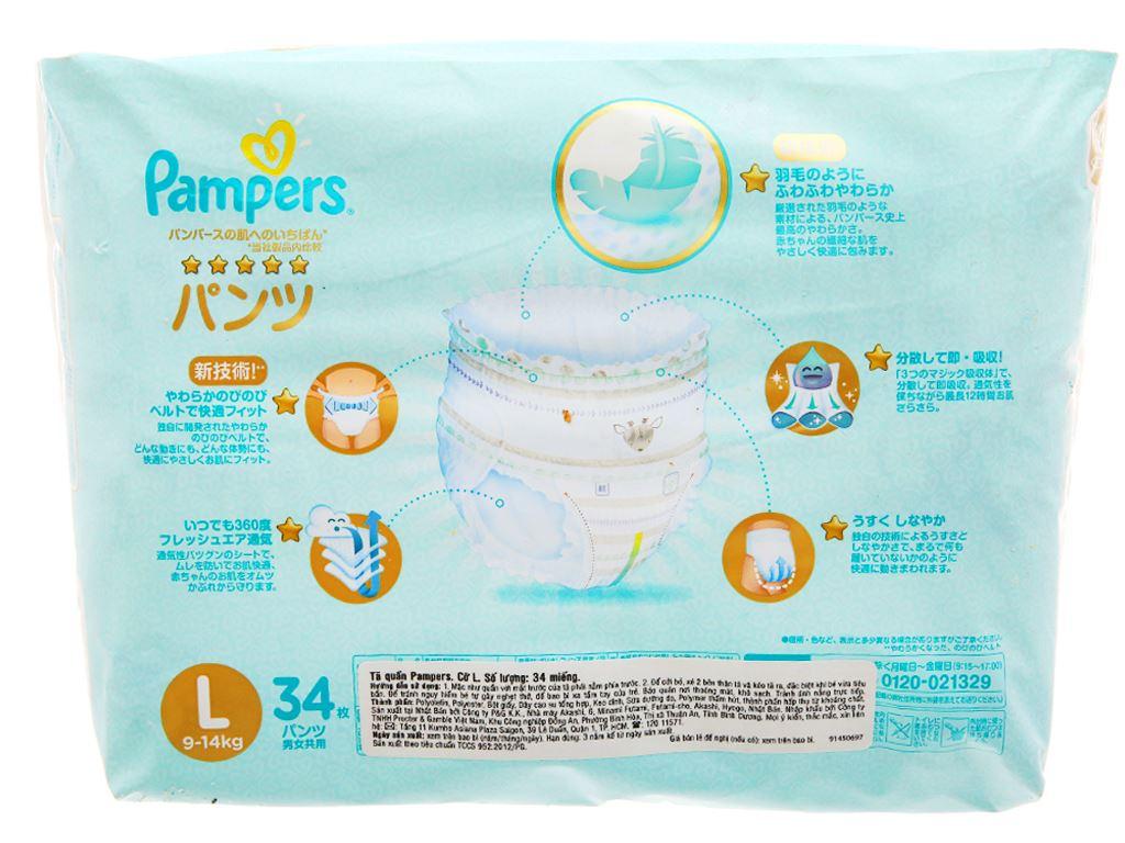 Tã quần Pampers cao cấp size L 34 miếng (cho bé 9 - 14kg) 2