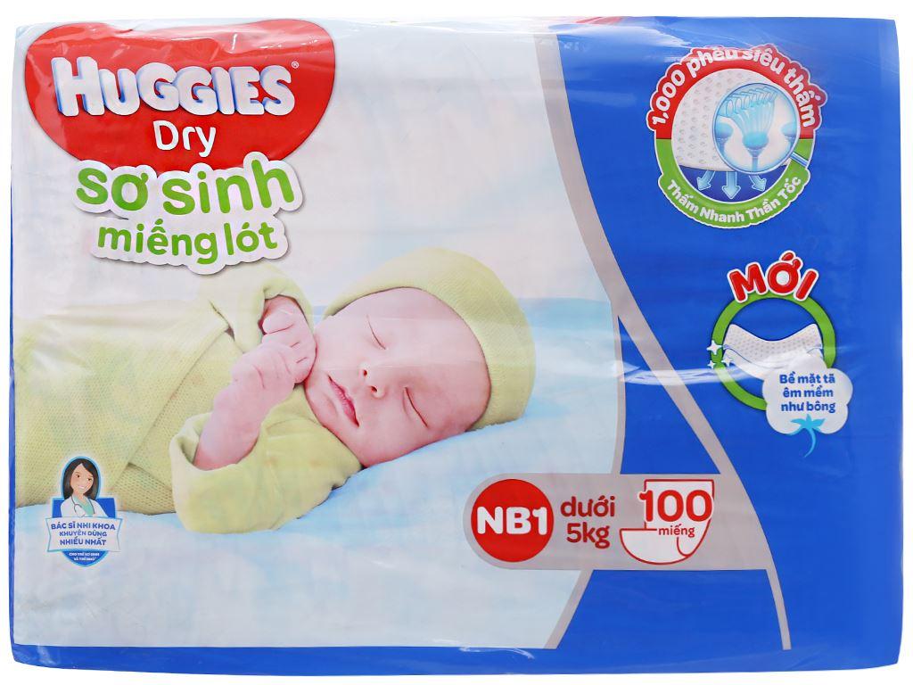 Miếng lót sơ sinh Huggies Dry size NB1 100 miếng (cho bé dưới 5kg) 2
