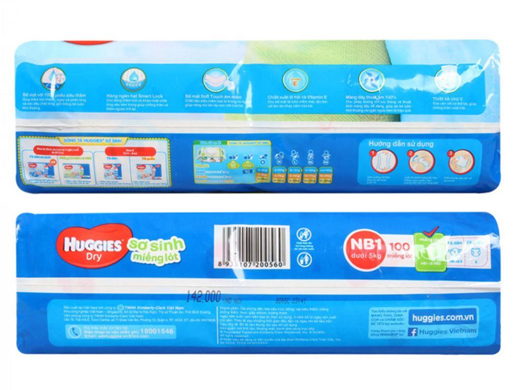 Miếng lót sơ sinh Huggies Dry size NB1 100 miếng (cho bé dưới 5kg) 3