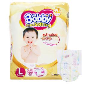 Tã dán Bobby Extra Soft Dry size L 30 miếng (cho bé 9 - 13kg)