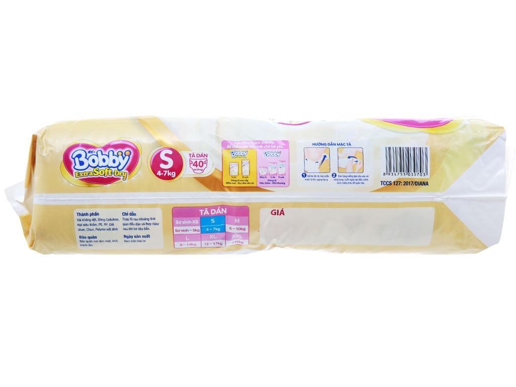 Tã dán Bobby Extra Soft Dry size S 40 miếng (cho bé 4 - 7kg) 3