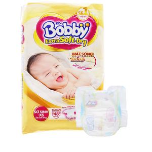 Tã dán Bobby Extra Soft Dry size XS 48 miếng (cho bé dưới 5kg)