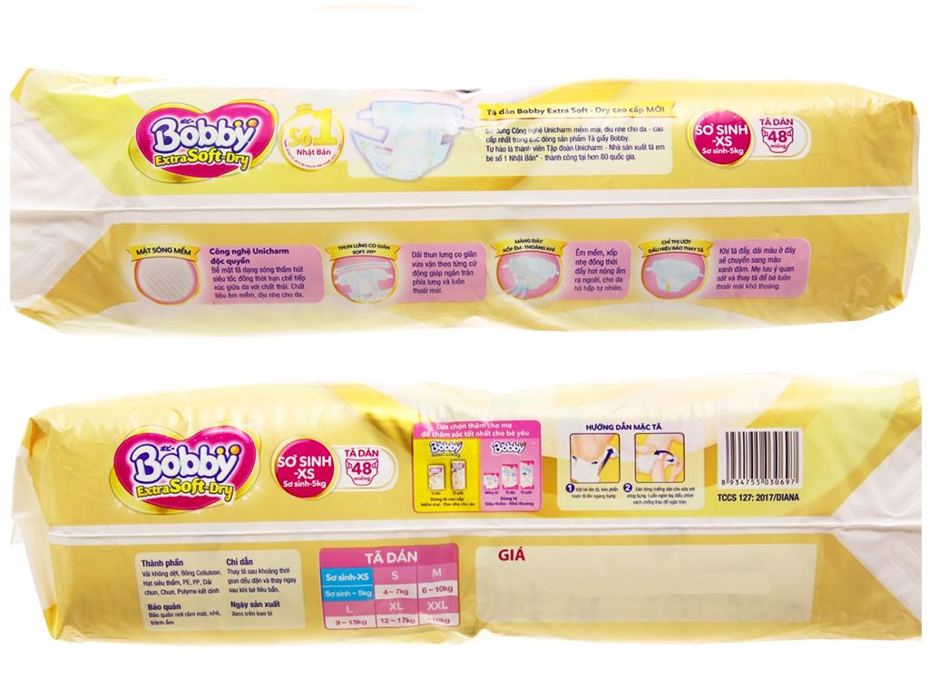Tã dán Bobby Extra Soft Dry size XS 48 miếng (cho bé dưới 5kg) 3