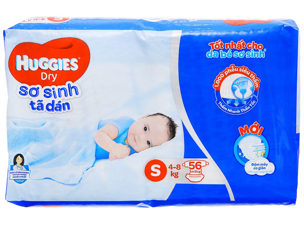 Tã dán Huggies Dry size S 56 miếng (cho bé 4 - 8kg) 1