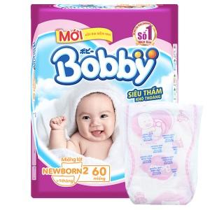 Miếng lót sơ sinh Bobby size NB2 60 miếng (cho bé trên 1 tháng)