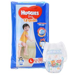 Tã quần Huggies Dry size L 36 miếng (cho bé 9 - 14kg)
