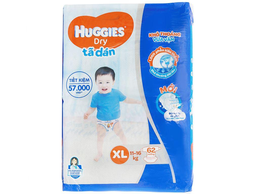 Tã dán Huggies Dry size XL 62 miếng (cho bé 11 - 16kg) 1