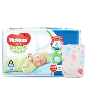 Miếng lót sơ sinh Huggies Dry size NB2 40 miếng (cho bé 4 - 7kg)