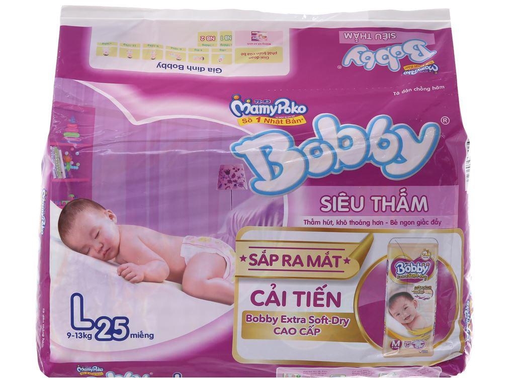 Tã dán Bobby Size L 25 miếng (cho bé 9 - 13kg) 1