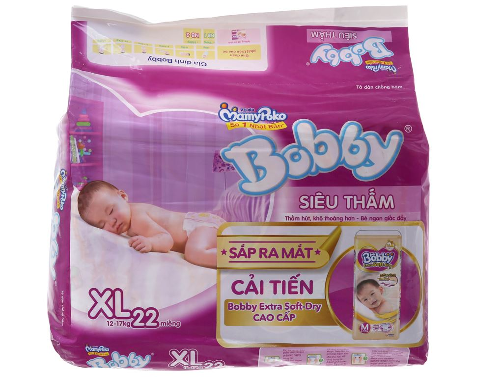 Tã dán Bobby size XL 22 miếng (cho bé 12 - 17kg) 1