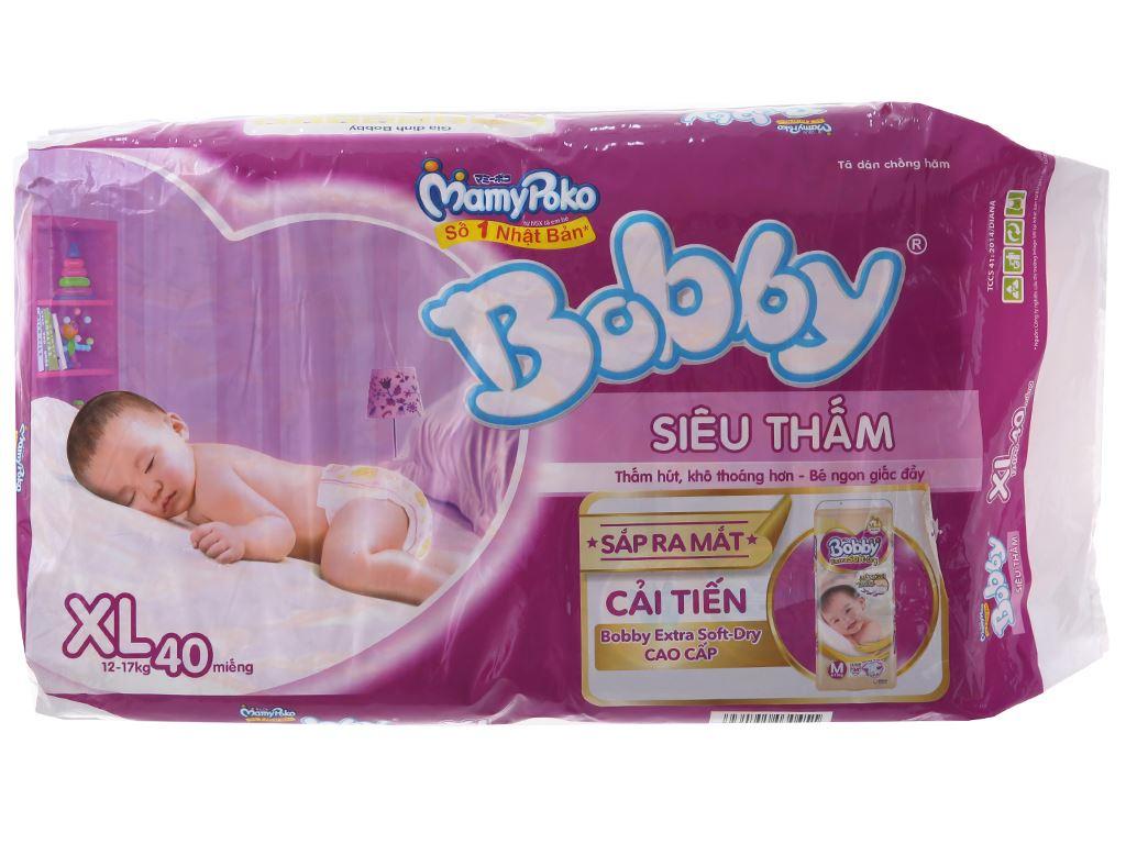 Tã dán Bobby size XL 40 miếng (cho bé 12 - 17kg) 1