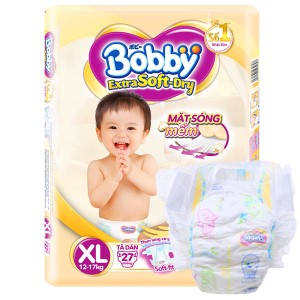 Tã dán Bobby Extra Soft Dry size XL 27 miếng (cho bé 12 - 17kg)