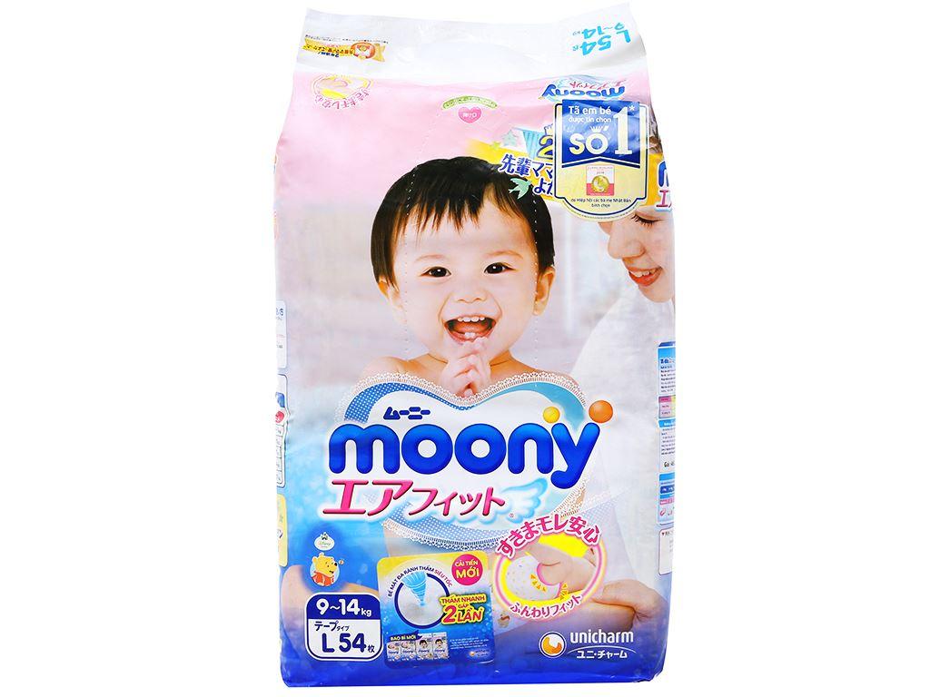 Tã dán Moony size L 54 miếng (cho bé 9 - 14kg) 1